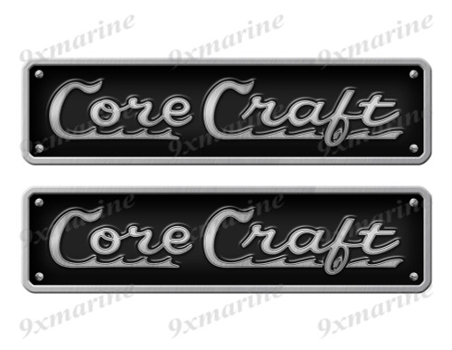 "Two Core Craft Stickers - 10"" long set. Replica Name Plate in Vinyl"