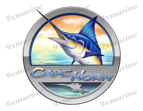 """Cape Horn Marlin Round Designer Sticker 7.5""""x7.5"""""""