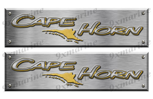 """2 Cape Horn Boat Stickers Brushed Metal Look - 16"""" long"""