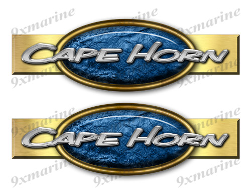 "Two Cape Horn Retro Stickers 10""x3"""