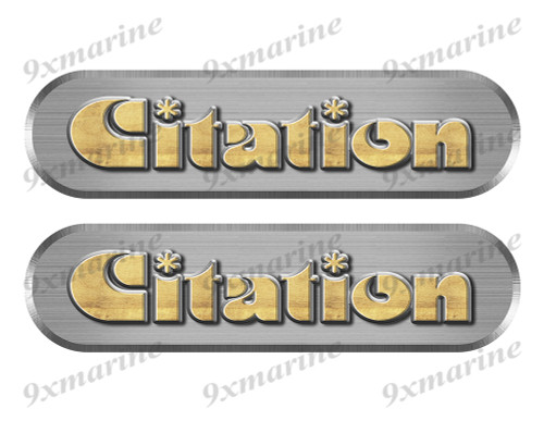 """2 Citation 80s Remastered Stickers. Brushed Metal Style - 10"""" long"""