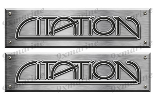 """2 Citation Boat Stickers Brushed Metal Look - 16"""" long"""