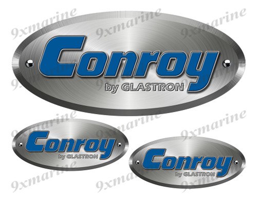 "Three Conroy  Remastered Sticker Brushed Metal Style - 10"" and 5""  long"