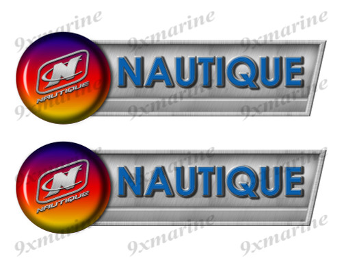 "Nautique Retro Sticker set - 10""x3"". Remastered Name Plate"