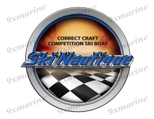 Correct Craft Ski Nautique Racing Boat Round Sticker - Name Plate