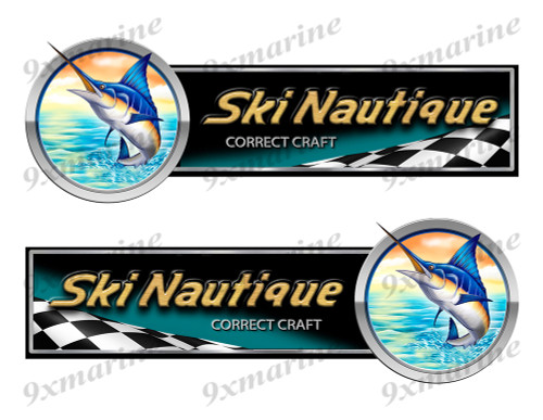 2 Correct Craft Ski Nautique Boat Marlin Racing Type Stickers