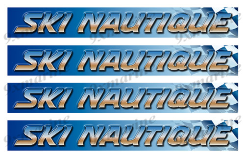 "4 Ski Nautique Vinyl Stickers - 16""x2"" each"