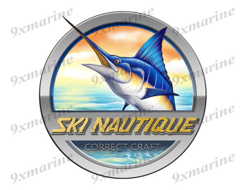 """Ski Nautique Marlin Round Designer Sticker 7.5""""x7.5"""""""