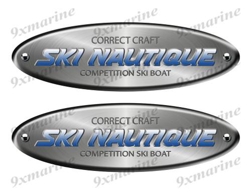 "Ski Nautique Remastered Stickers. Brushed Metal Style - 10"" long"