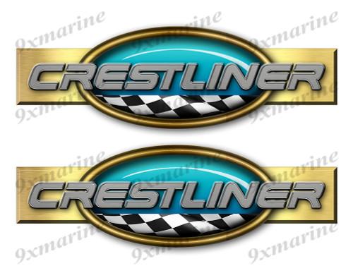 "Two Crestliner Retro Stickers 10""x3"""