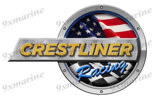 """One Crestliner Racing Round Sticker 15""""x10"""""""