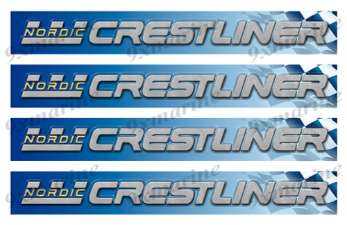 "4 Crestliner Nordic Vinyl Stickers - 16""x2"" each"