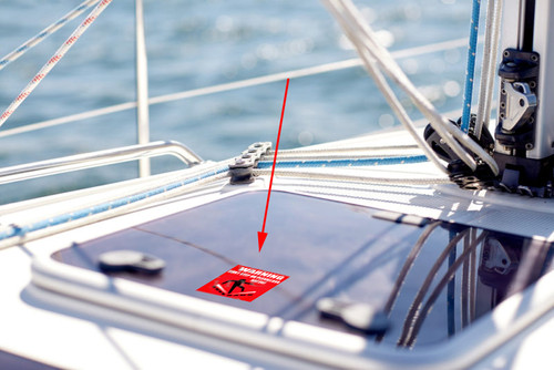 Boat Plexiglass Hatch No-Step Warning Decals