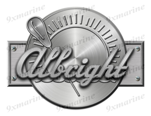 """Albright Remastered Sticker. Brushed Metal Style - 10"""" x7.5"""""""