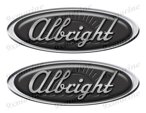 """Two Albright Classic Oval Stickers 10"""" long"""