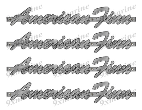 "4 American Finn Designer Stickers. Brushed Metal Style - 10"" long. Remastered"
