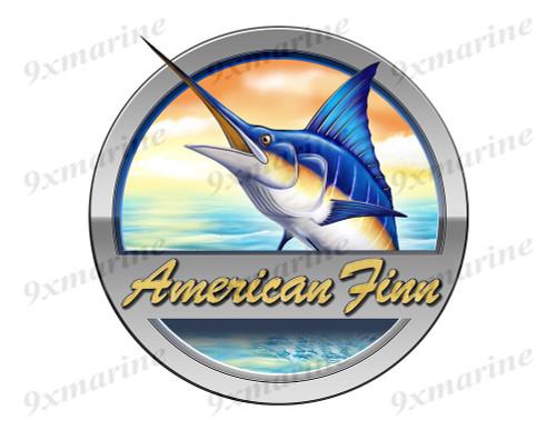 """American Finn Marlin Round Designer Sticker 7.5""""x7.5"""""""