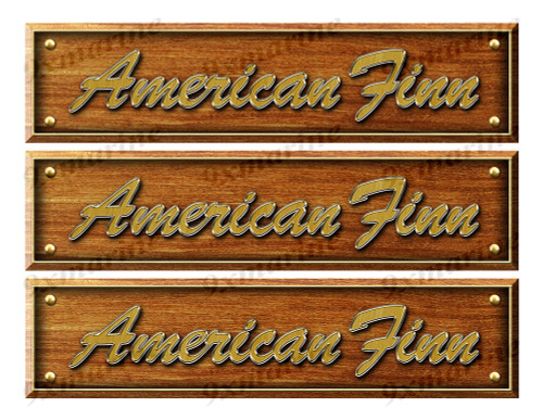 3 American Finn Custom Woodgrain Stickers - 10 inch long set. Remastered