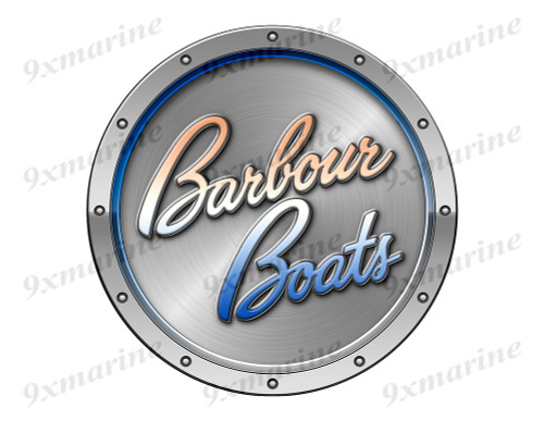 "Barbour Remastered Sticker. Brushed Metal Style - 7.5"" diameter"
