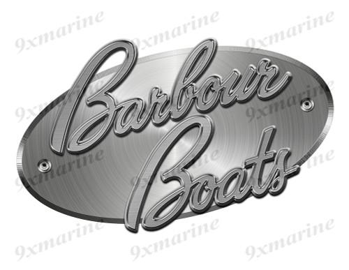 "Barbour Designer Sticker. Brushed Metal Style - 10""x6"""