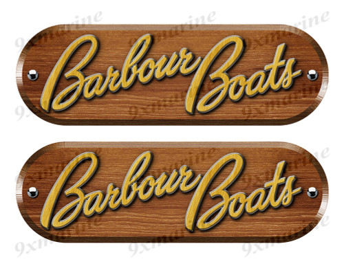 Barbour Custom Woodgrain Stickers - 10 inch long set. Remastered