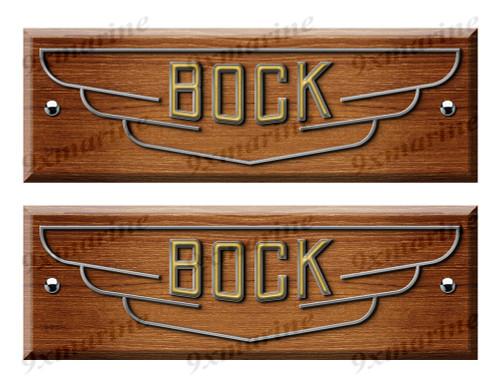 Bock Custom Woodgrain Stickers - 10 inch long set. Remastered