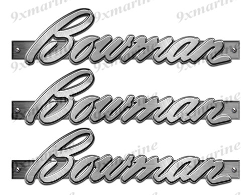 "3 Bowman Designer Stickers. Brushed Metal Style - 10"" long. Remastered"