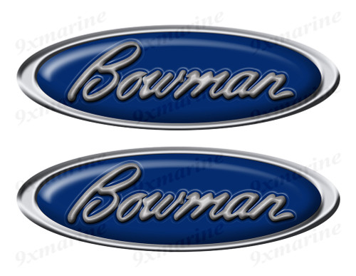 "Two Bowman Classic Oval Stickers 10"" long"