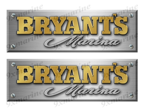 "Bryant Remastered Stickers. Brushed Metal Style - 10"" long"