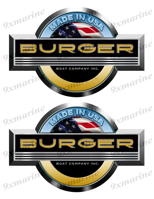 2 Burger Stickers for Boat Restoration. 7.5 inch long each