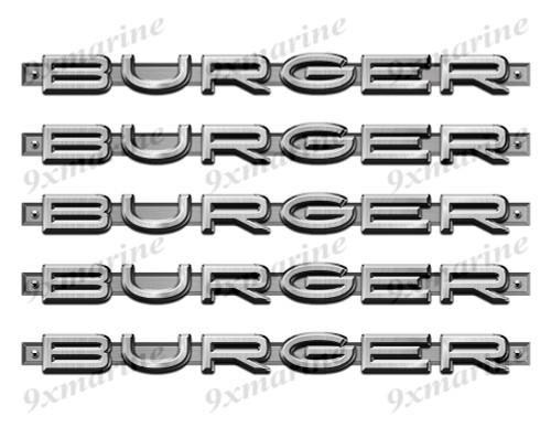 "5 Burger Designer Stickers. Brushed Metal Style - 10"" long. Remastered"