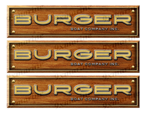 3 Burger Custom Woodgrain Stickers - 10 inch long set. Remastered