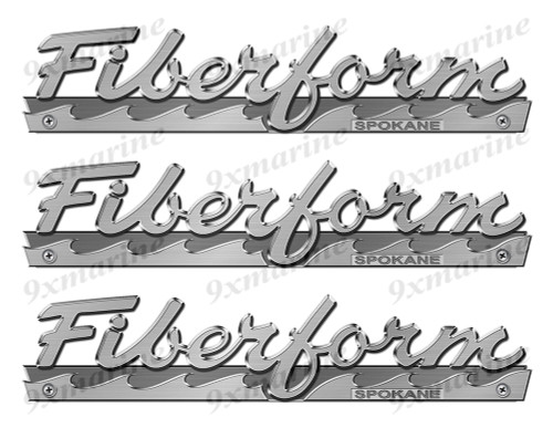 """Fiberform boat Stickers """"3D Vinyl Replica"""" of metal originals - 10"""" long"""