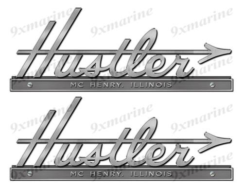 "Hustler boat Stickers ""3D Vinyl Replica"" of metal originals - 10"" long"