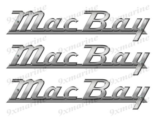 """Mac Bay boat Stickers """"3D Vinyl Replica"""" of metal originals - 10""""x2"""""""