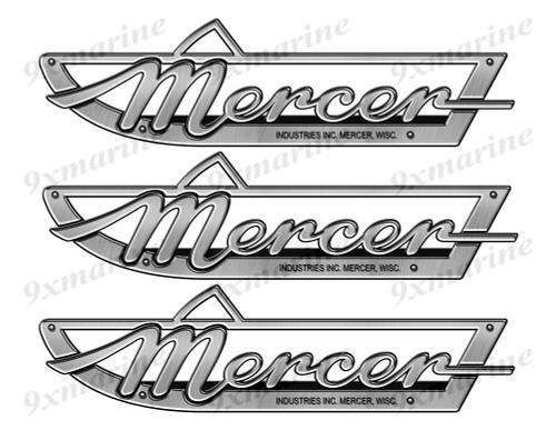 """Mercer boat Stickers """"3D Vinyl Replica"""" of metal originals - 10"""" long"""