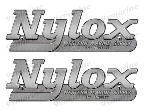 """Nylox boat Stickers """"3D Vinyl Replica"""" of metal originals - 10"""" long"""