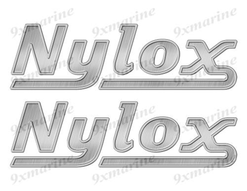 """Nylox boat Stickers """"3D Vinyl Replica"""" of metal originals - 10""""x3"""""""