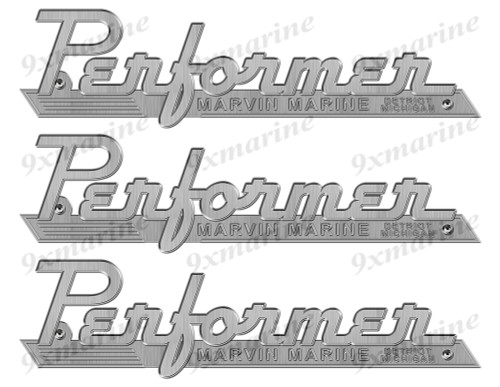 "Performer boat Stickers ""3D Vinyl Replica"" of metal originals - 10"" long"