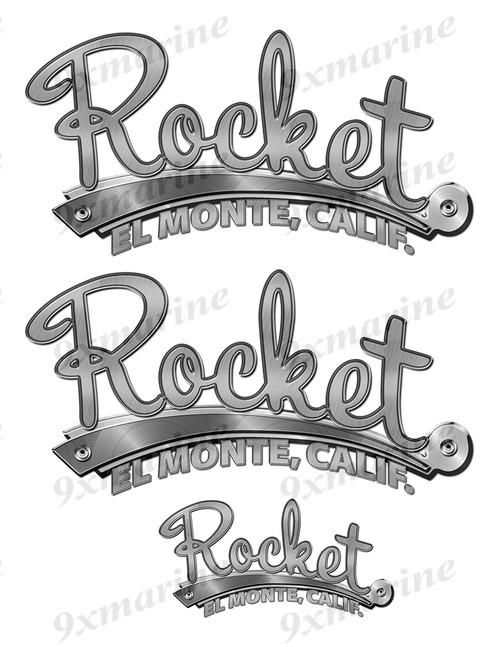 """Rocket 50s Stickers """"3D Vinyl Replica"""" of originals - 10"""" long"""