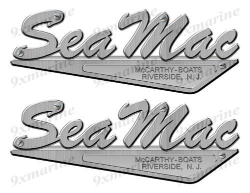 """Sea Mac 50s Stickers """"3D Vinyl Replica"""" of metal originals - 10"""" long"""