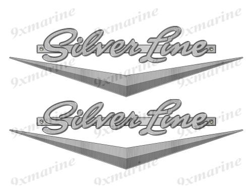 "Silver Line boat Stickers ""3D Vinyl Replica"" of metal originals - 10"" long"