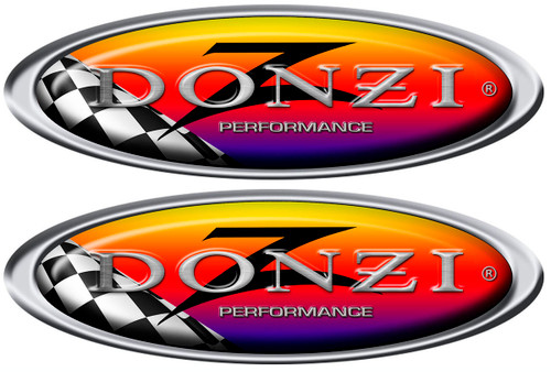 Donzi Two Oval Racing Decals 10x3.5 inches each