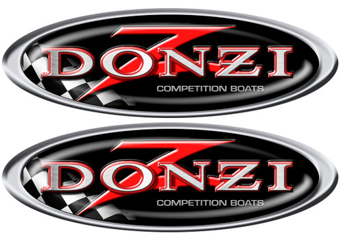 Donzi Two Oval Designer Decals 10x3.5 inches each
