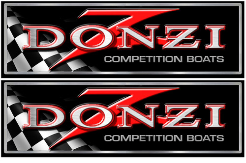 Donzi Two Designer  Classic Decals 10x3.5 inches each