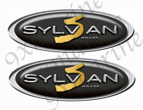"Two Sylvan Stickers - 10"" long set. Replica Name Plate in Vinyl"