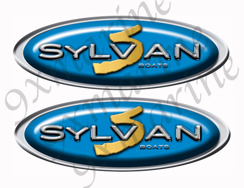 "Two Sylvan Classic Blue Oval Stickers 10"" long"