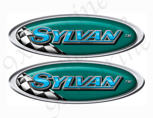 "Two Sylvan Vinyl Racing Oval Stickers 10"" long each"