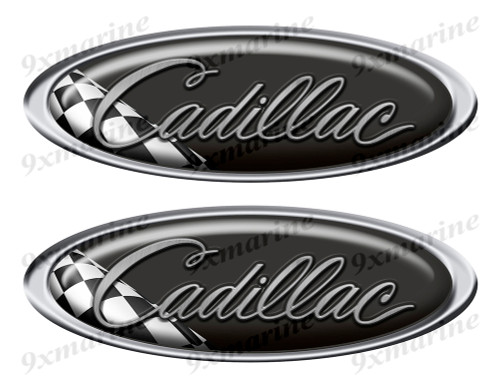 """Two Cadillac Classic Oval Stickers 10"""" long"""