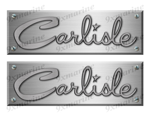 "Carlisle Old Style Boat Stickers Brushed Metal Look - 10"" long"